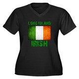 Long Island IRISH Women's Plus Size V-Neck Dark T-