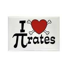 I Love Pi rates Rectangle Magnet