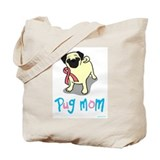 Cute Pink ribbon pug Tote Bag