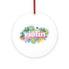 Colorful Retro Violin Ornament (Round)