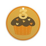 3rd Birthday Cupcake Ornament (Round)