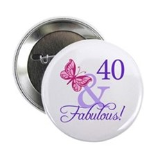 "40th Birthday Butterfly 2.25"" Button"