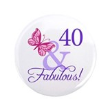 40th Birthday Butterfly 3.5&quot; Button