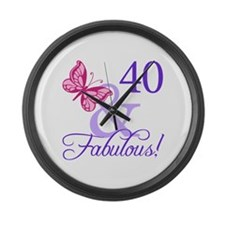 40th Birthday Butterfly Large Wall Clock