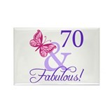 70th Birthday Butterfly Rectangle Magnet (100 pack