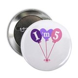 "Pink 5th Birthday Balloons 2.25"" Button"