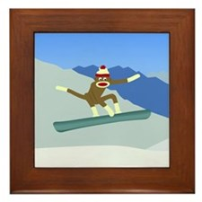 Sock Monkey Snowboarder Framed Tile