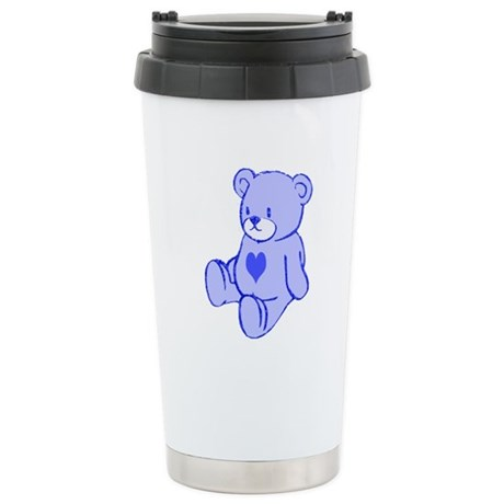 Blue Cute Heart Bear Ceramic Travel Mug