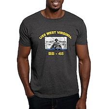 USS West Virginia BB 48 Black T-Shirt