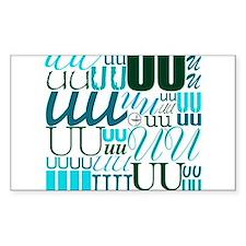 UU Typography (Aqua) Rectangle Sticker 10 pk)
