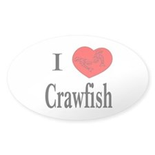 I Love Crawfish Oval Decal