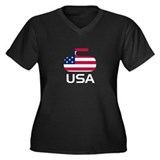 USA curling Women's Plus Size V-Neck Dark T-Shirt