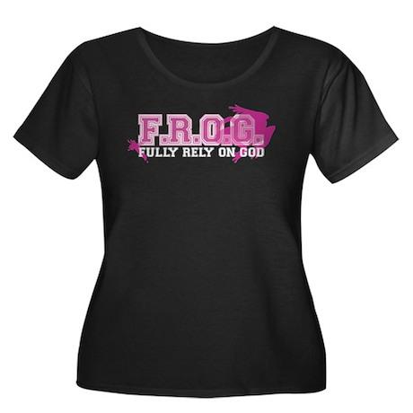 FROG pink Women's Plus Size Scoop Neck Dark T-Shir