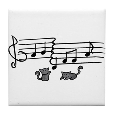 Black Kitty Notes Tile Coaster