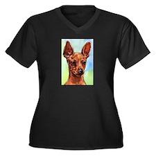 MinPin Women's Plus Size V-Neck Dark T-Shirt