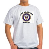 USS Alabama BB 60 Ash Grey T-Shirt
