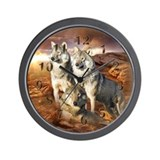 Wolves Trio Wall Clock