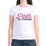 Pink For October Jr. Ringer T-Shirt