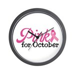 Pink For October Wall Clock