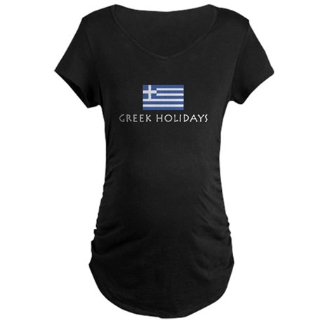 Greek Holidays Maternity Dark T-Shirt