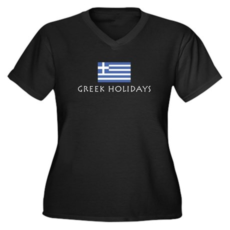 Greek Holidays Women's Plus Size V-Neck Dark T-Shi