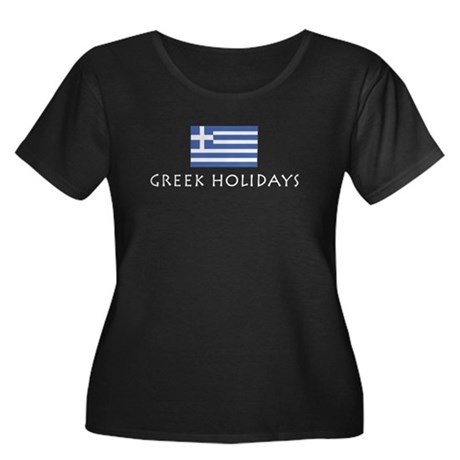 Greek Holidays Women's Plus Size Scoop Neck Dark T