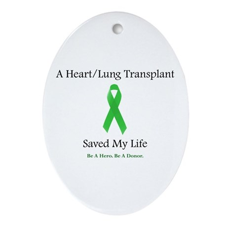 Heart/Lung Survivor Oval Ornament