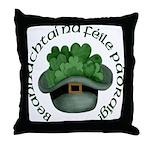 Shamrocks (Gaelic) Throw Pillow