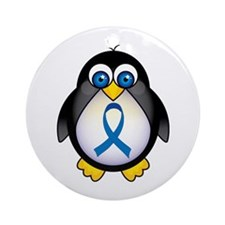 Penguin Blue Ribbon Awareness Ornament (Round)
