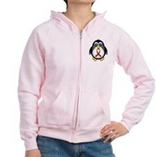 Penguin Burgundy Ribbon Awareness Zip Hoodie