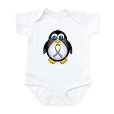 Penguin Gray Ribbon Awareness Infant Bodysuit
