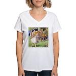 MAD HATTER'S TEA PARTY Women's V-Neck T-Shirt