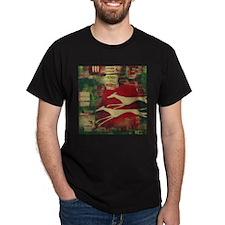 Red/Gold Greyts Black T-Shirt