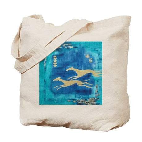 Aqua/Gold Greyts Tote Bag