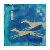 Aqua/Gold Greyts Tile Coaster