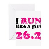 I Run Like a Girl 26.2 Greeting Card