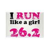 I Run Like a Girl 26.2 Rectangle Magnet