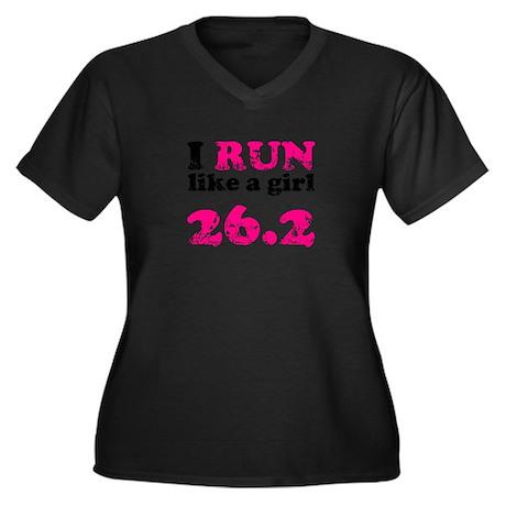 I Run Like a Girl 26.2 Women's Plus Size V-Neck Da