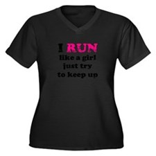 I run like a girl just try to Women's Plus Size V-