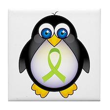 Penguin Lime Green Ribbon Awareness Tile Coaster