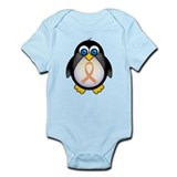 Penguin Peach Ribbon Awareness Infant Bodysuit