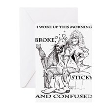 broke sticky & confused Greeting Cards (Pk of 10)