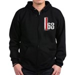 68 Red White Zip Hoodie (dark)