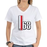 68 Red White Women's V-Neck T-Shirt