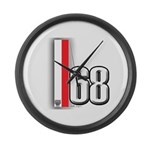 68 Red White Large Wall Clock