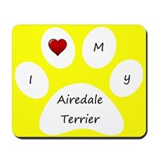 Yellow I Love My Airedale Terrier Mouse Pad