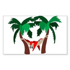 Macaw in Palms Rectangle Decal