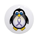 Penguin Periwinkle Ribbon Awareness Ornament (Roun