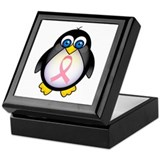 Pink Ribbon Penguin Awareness Keepsake Box