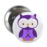 Purple Ribbon Awareness Owl 2.25&quot; Button